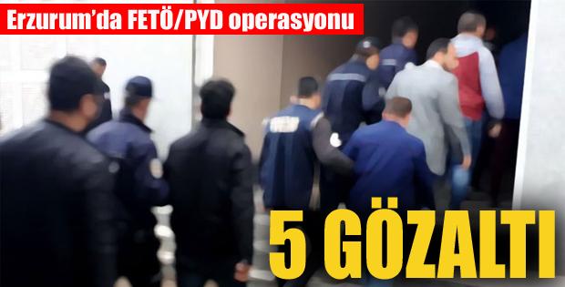 Erzurum'da FETÖ/PYD operasyonu: 5 gözaltı