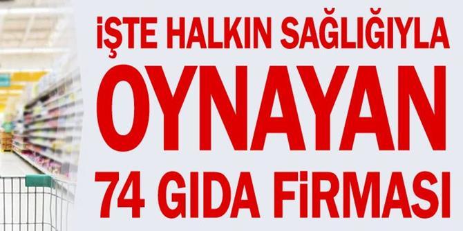 Erzurum'dan da firma var: İşte halkın sağlığıyla oynayan 74 gıda firması