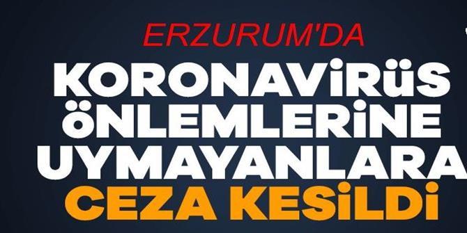 Erzurum'da koronavirüs tedbirlerine uymayan 5 kişiye para cezası kesildi