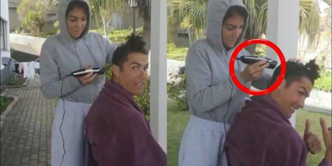 Cristiano Ronaldo, saçlarını kız arkadaşına kestirdi...