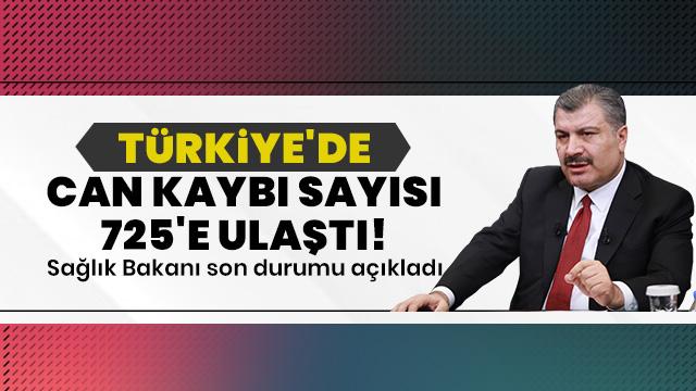 Koca: Türkiye'de toplam can kaybı sayısı 725'e ulaştı