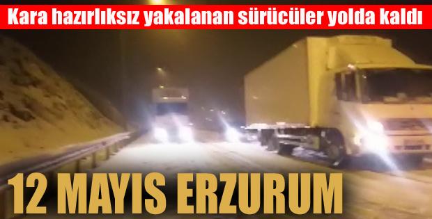 Kar'a hazırlıksız yakalanan sürücüler yolda kaldı
