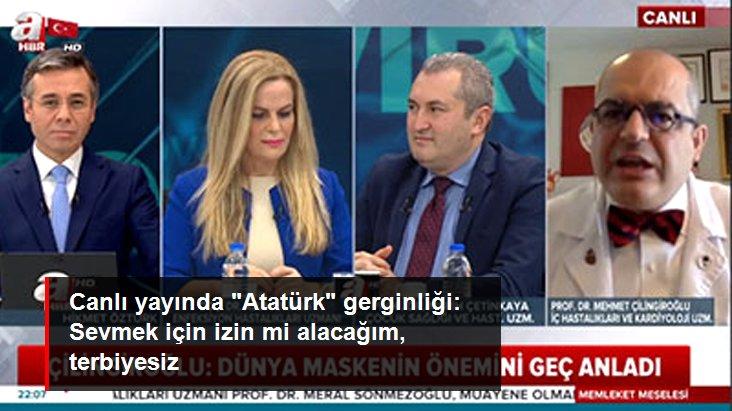 """Canlı yayında """"Atatürk"""" gerginliği: Sevmek için izin mi alacağım, terbiyesiz"""