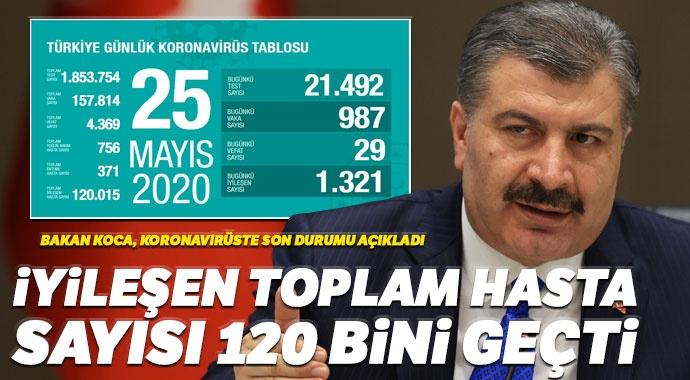 Türkiye'de iyileşen Covid-19 hasta sayısı 120 bini geçti