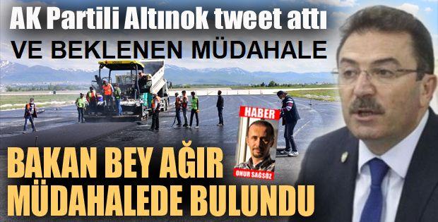 Erzurum'un Vekili Altınok tweet attı