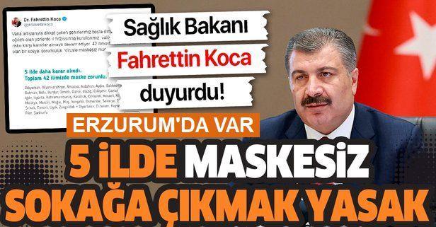 Erzurum'da maskesiz sokağa çıkmak yasaklandı