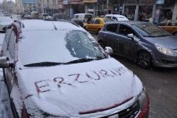 Kar Erzurum'da yüzleri güldürdü
