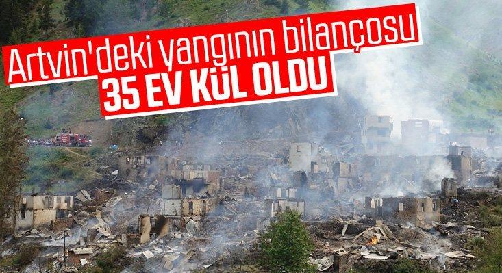 Yusufeli'ndeki yangında 35 ev kül oldu