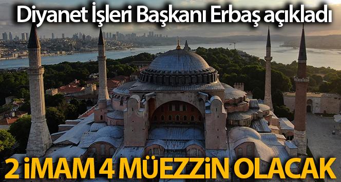 Bakan Ersoy ve Diyanet İşleri Başkanı Erbaş, Ayasofya Camii'nde incelmelerde bulundu