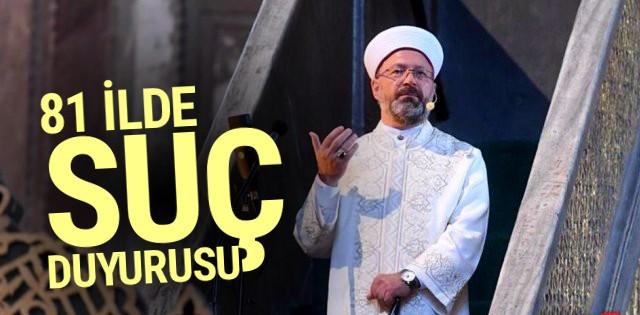 Diyanet İşleri Başkanı Erbaş'a 81 ilde suç duyurusu
