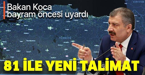 Sağlık Bakanı Fahrettin Koca'dan 81 il sağlık müdürüne bayram uyarısı