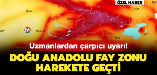 Doğu Anadolu fay zonu harekete geçti