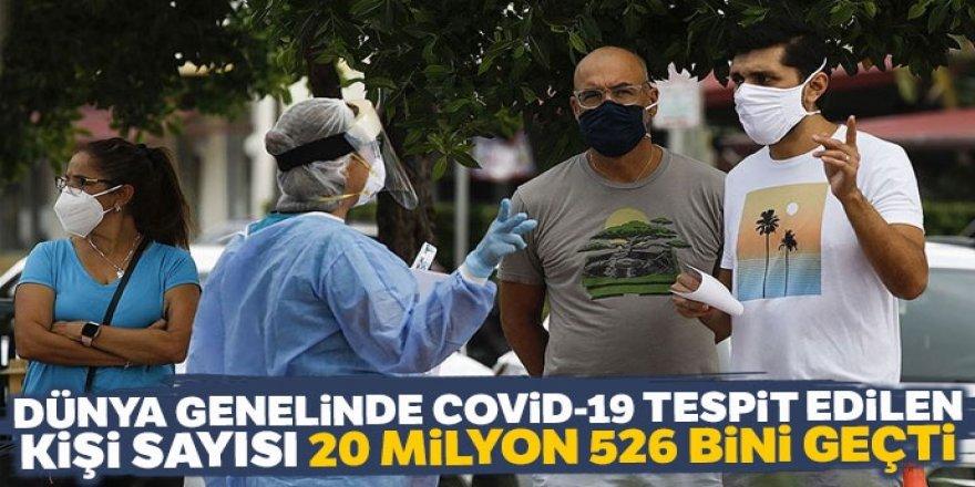 Dünya genelinde Covid-19 tespit edilen kişi sayısı 20 milyon 526 bini geçti