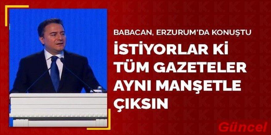 DEVA Partisi Genel Başkanı Ali Babacan, Erzurum'da konuştu: