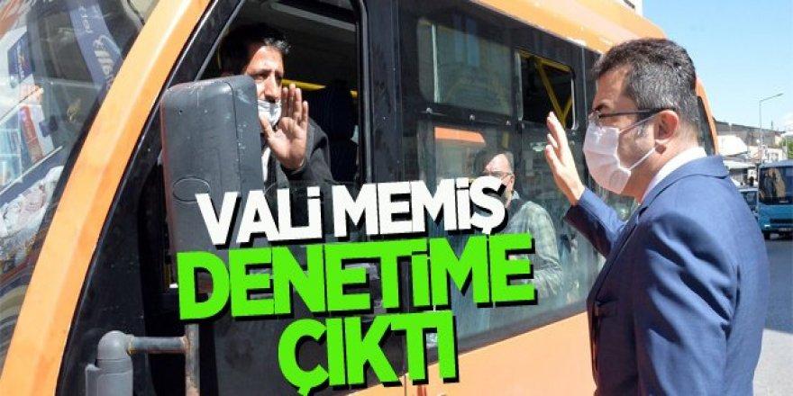 Vali Memiş, toplu taşıma araçlarını denetledi