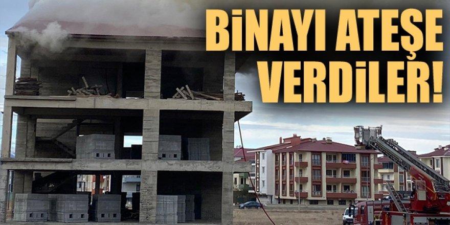 Erzurum'da binayı ateşe verdiler