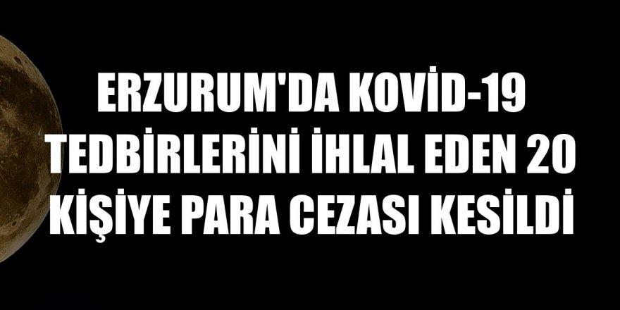 Erzurum'da Kovid-19 tedbirlerini ihlal eden 20 kişiye para cezası kesildi