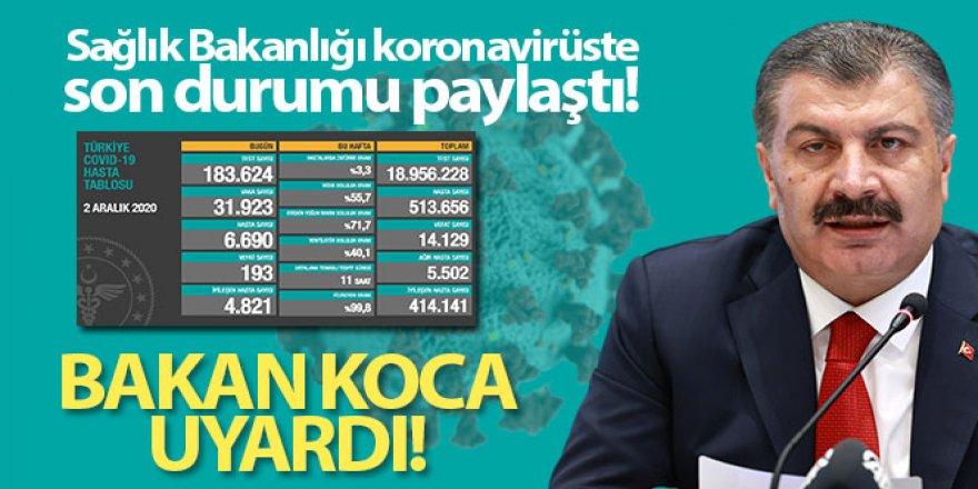 Koca Türkiye'nin günlük koronavirüs tablosunu paylaştı!