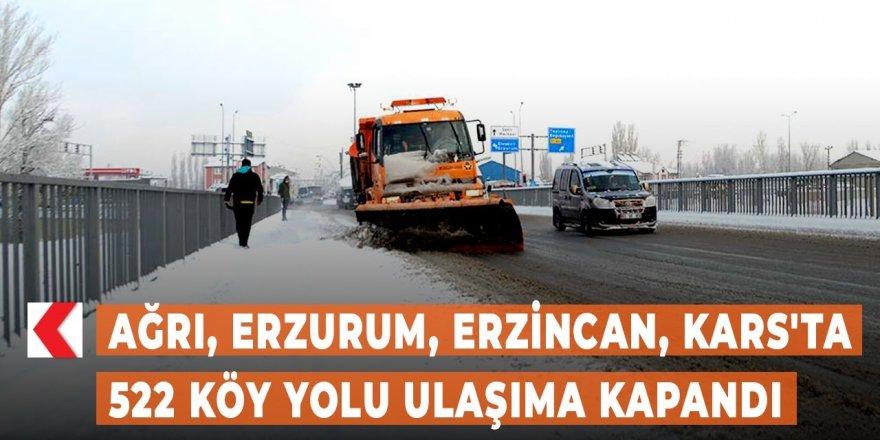 Doğu Anadolu'da kar ve tipi nedeniyle 522 köy yolu ulaşıma kapandı