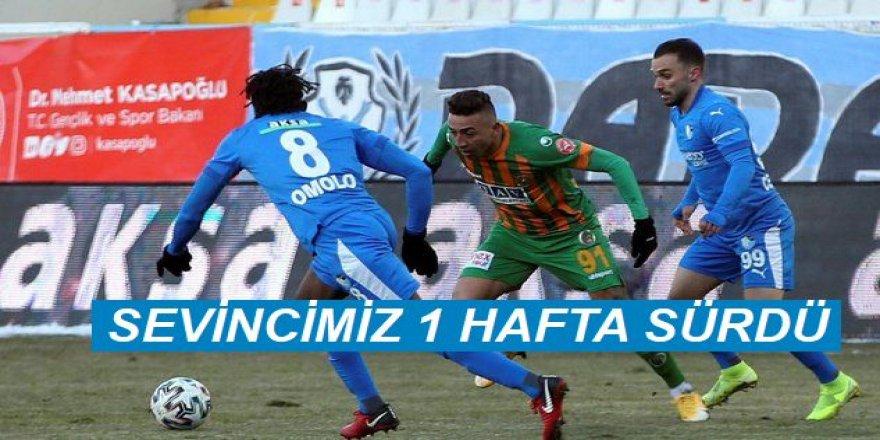 BB Erzurumspor - Alanyaspor: 1-1.