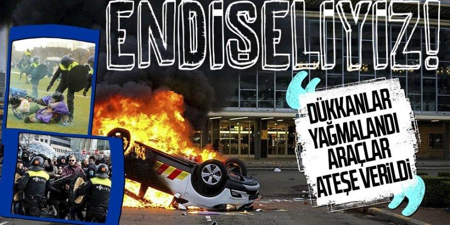Hollanda yangın yeri! Dükkanlar yağmalandı, araçlar ateşe verildi!