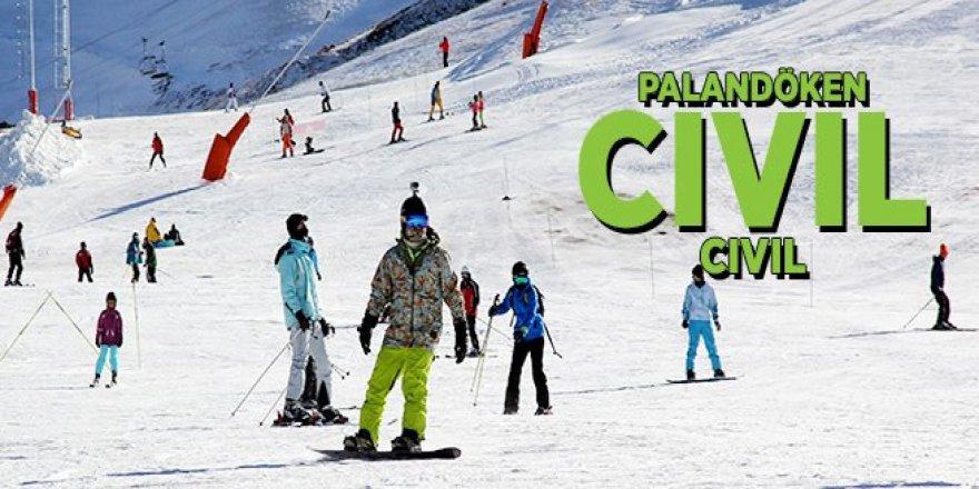 Kısıtlamadan muaf olan turistler hafta sonunda Palandöken'e akın etti