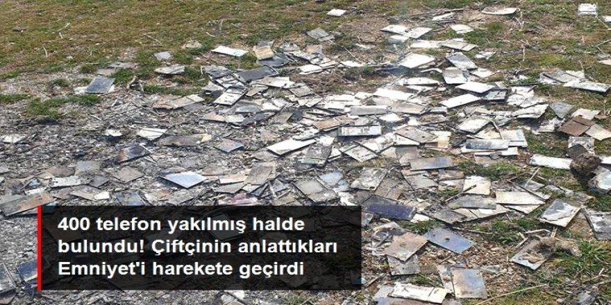 400 akıllı telefon yakılmış halde bulundu! FETÖ iddiası Emniyet'i harekete geçirdi