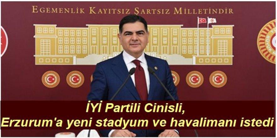 İYİ Partili Cinisli, Erzurum'a yeni stadyum ve havalimanı istedi
