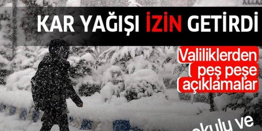Erzurum'da kar yağışı nedeniyle engelli ve hamile personele 1 gün izin verildi