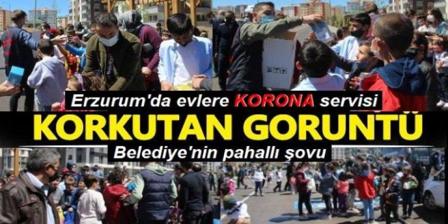 Erzurum'da belediye çocuklara şeker, evlere korona dağıttı
