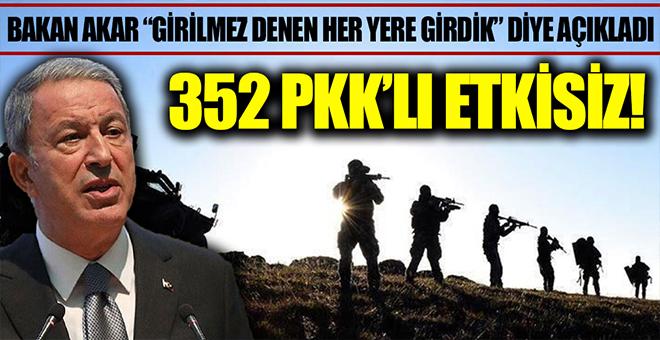 Milli Savunma Bakanı Hulusi Akar: 352 terörist etkisiz hale getirildi