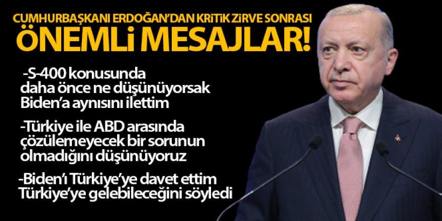 Erdoğan: 'S-400 konusunda daha önce ne düşünüyorsak, Biden'a aynısını ilettim'