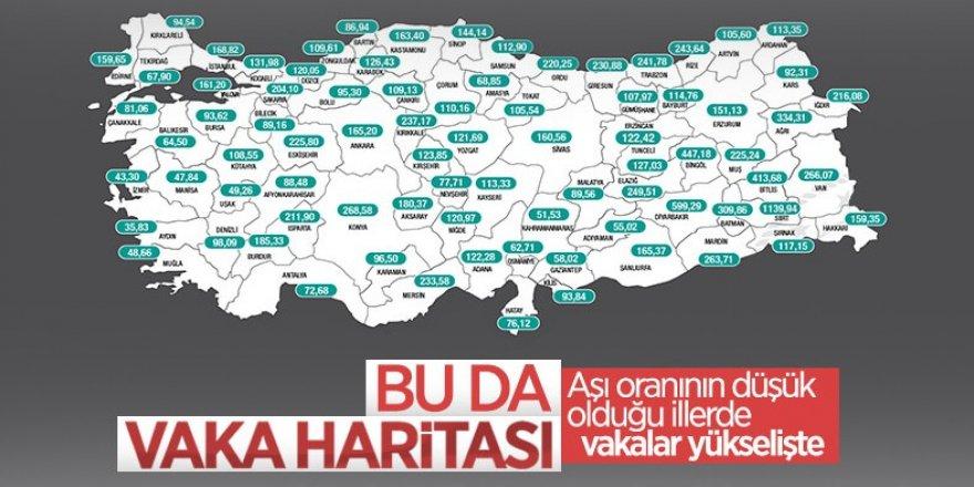 Bakan Koca, bir haftalık vaka sayısını gösteren insidans haritasını paylaştı