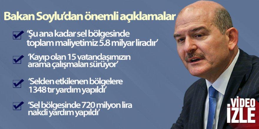 İçişleri Bakanı Süleyman Soylu: 'Şu ana kadar sel bölgesinde toplam maliyetimiz 5.8 milyar liradır'