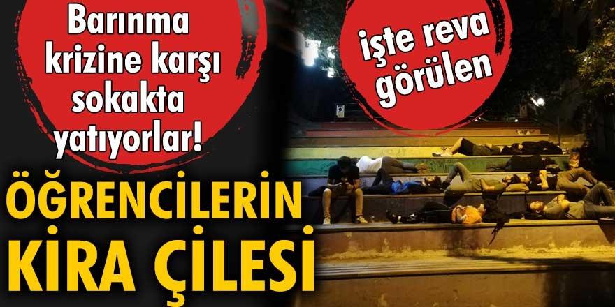 Kira fiyatlarını protesto eden öğrenciler sokakta yattı!