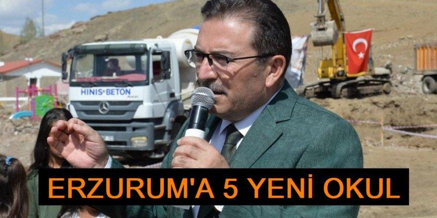 Erzurum'da 4 ilçede 4 okulun temeli atıldı, 1 okul hizmete açıldı
