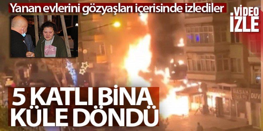 Erzurum'da 5 katlı bina küle döndü