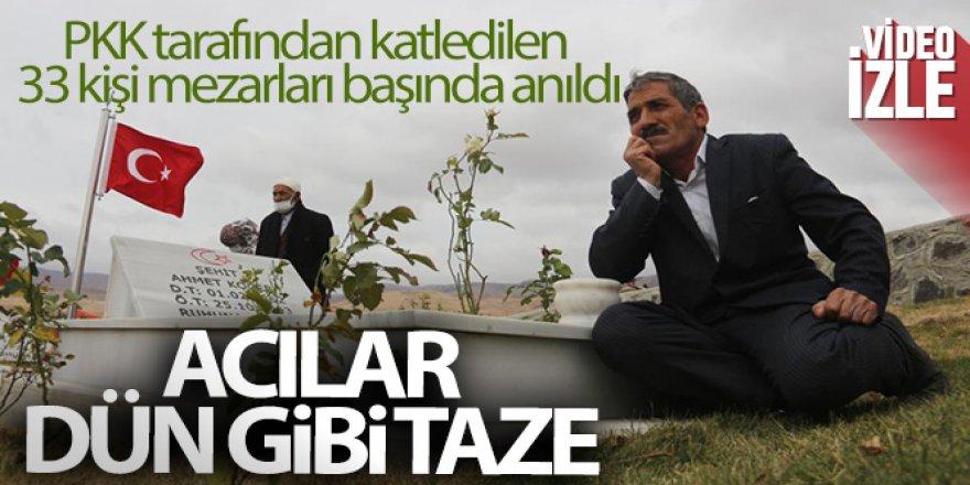PKK tarafından katledilen 33 kişi mezarları başında anıldı
