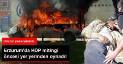 Erzurum'da HDP'nin aracı yakıldı