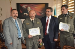 Erzurum'da ormancılara teşekkür belgesi