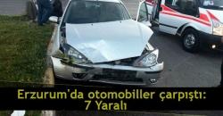 Erzurum'da iki otomobil çarpıştı: 7 yaralı