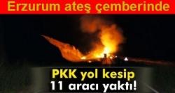 PKK yol kesip, araç yaktı!