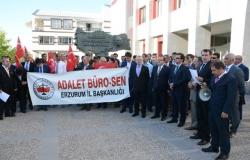 Erzurum'da adliye çalışanları şehitleri andı