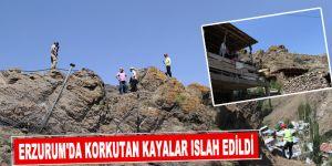 Erzurum'da korkutan kayalar ıslah edildi
