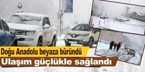 Doğu Anadolu beyaza büründü, ulaşım güçlükle sağlandı