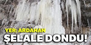 Ardahan'da soğuk hava nedeniyle şelale dondu