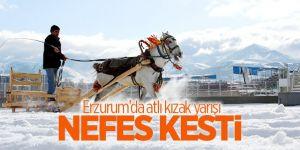 """Erzurum'da """"Atlı Kızak Türkiye Şampiyonası"""" nefes kesti"""