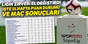 Süper Lig 31.hafta Puan Durumu-Maç Sonuçları