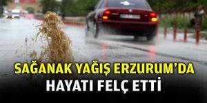 Erzurum'da sağanak yağış bir anda bastırdı