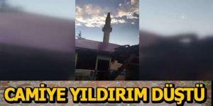 Erzurum'da yıldırım isabet eden minare hasar gördü